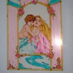 maternità dipinta su vetro